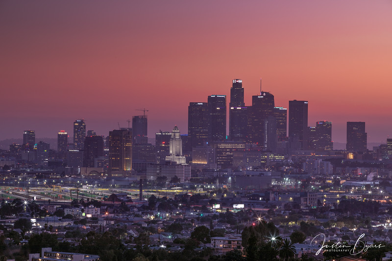 Sunset and Twilight Cityscape in Los Angeles
