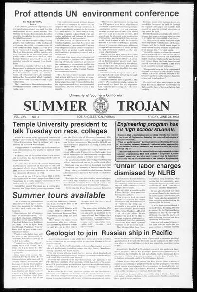 Summer Trojan, Vol. 65, No. 4, June 23, 1972
