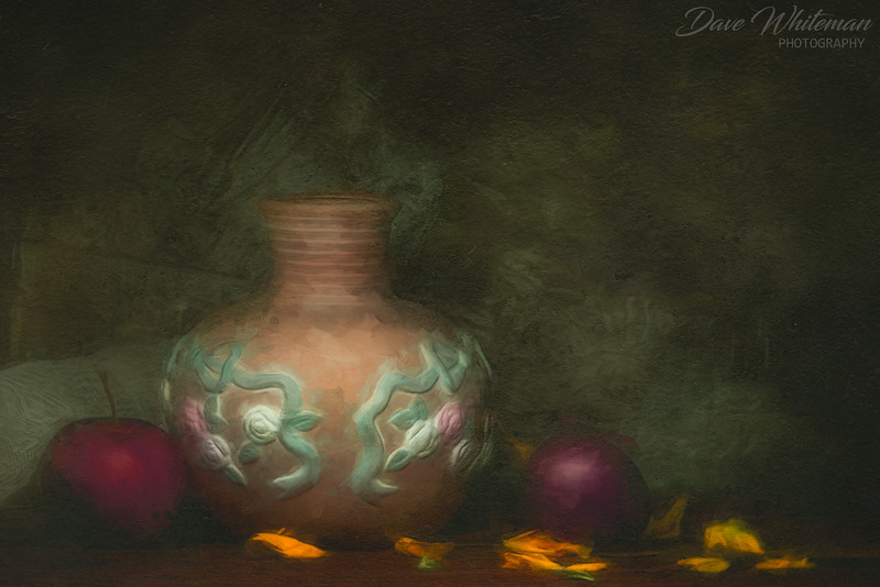 Still Life with Vase Apple and Tamarillo