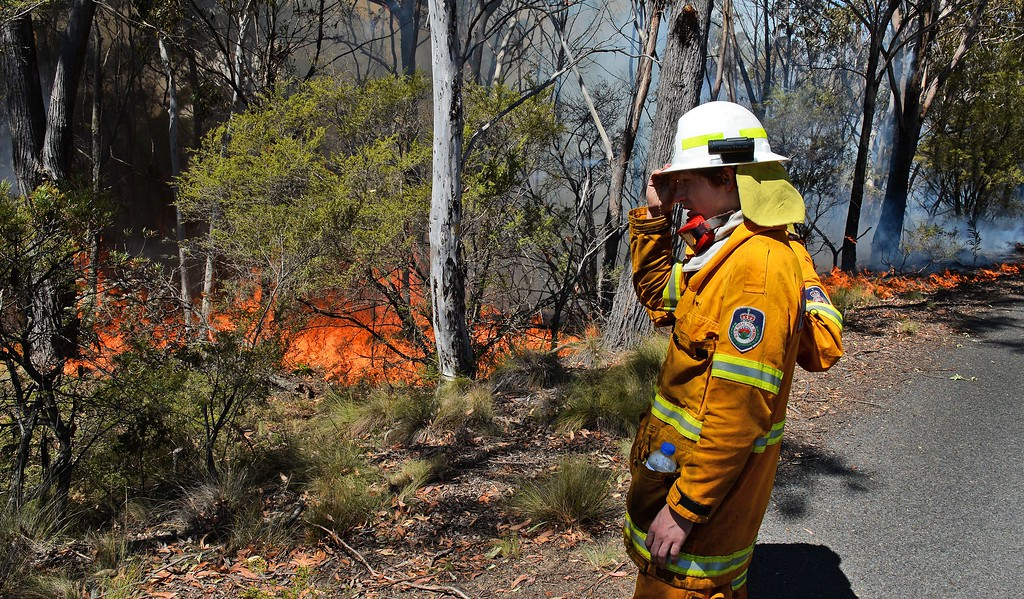 """. A firefighter monitors a back burn near Mount Victoria in the Blue Mountains on October 21, 2013, as volunteer fire brigades race to tame an enormous blaze, with officials warning it could merge with others to create a \""""mega-fire\"""" if weather conditions worsen.    AFP PHOTO/William  WEST/AFP/Getty Images"""