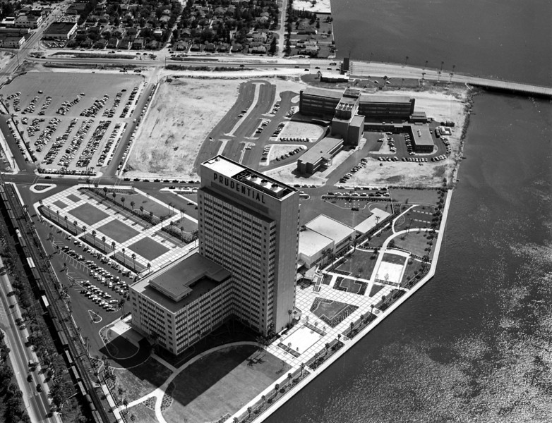 Aerial view overlooking the Prudential Insurance building and neighboring bapist hospital building in 1955.