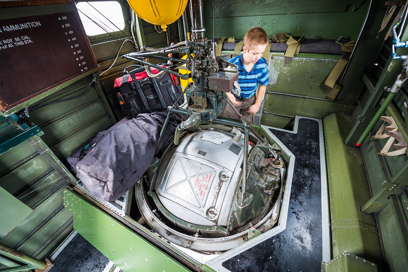 The ball turret, just behind the bomb bay.
