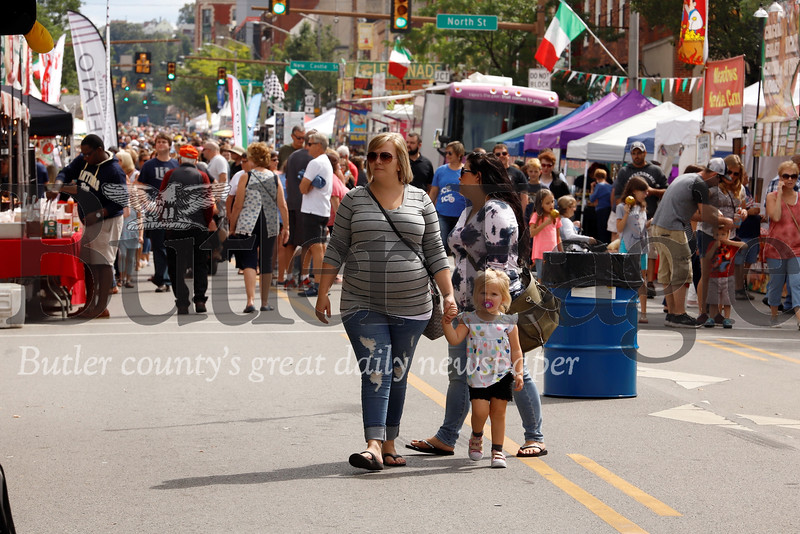 Butler county area residents and visitors flocked to Main Street in downtown Butler over the weekend for the city's annual Italian Festival. Officials closed the street to traffic to allow for pedestrians to enjoy street vendors, live music, carnival rides and games. Seb Foltz/Butler Eagle 082419