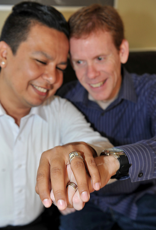 . 6/26/13 - L-R Ddavid Moreno and Edward Goff have known each other for 15 years and been in a committed relationship for 5 years. They had a wedding in September 2009 but now they will be able to have a legal marriage in the state of California. Photo by Brittany Murray / Staff Photographer