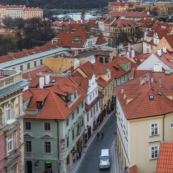 View of city from the Lesser Town Bridge Towers, Prague, Czech Republic