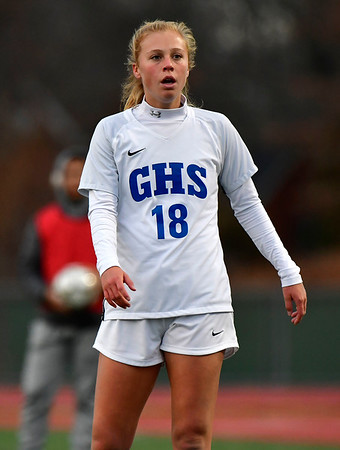 11/23/2019 Mike Orazzi | StaffrGlastonbury's Madison McGraw (18) during the Class LL Girls State Soccer Tournament at Veterans Stadium in New Britain Saturday evening. Glastonbury defeated Southington 1-0.