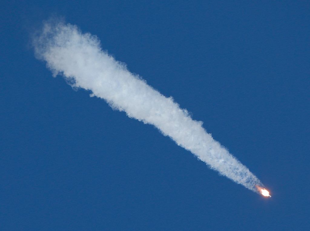 . The Soyuz-FG rocket booster with Soyuz TMA-11M space ship carrying a new crew to the International Space Station (ISS) flies in the sky at the Russian-leased Baikonur cosmodrome, Kazakhstan, Thursday, Nov. 7, 2013.  (AP Photo/Dmitry Lovetsky)