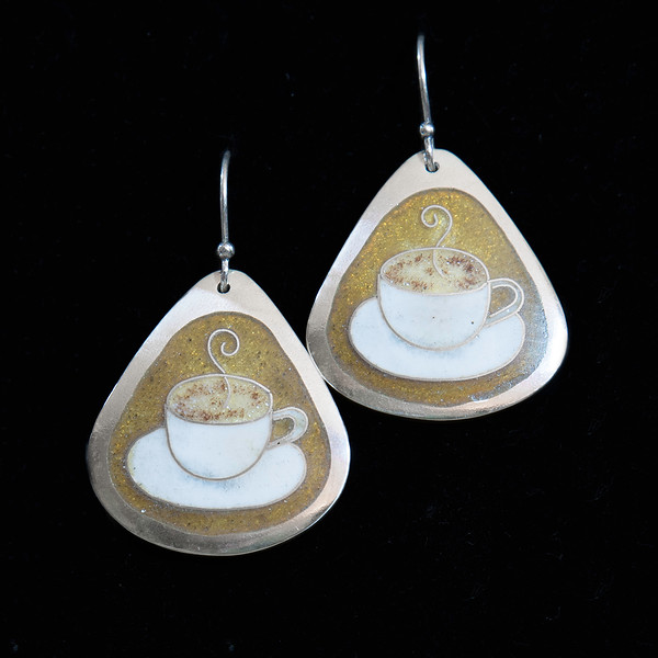 Fine Silver Champlevé and Cloisonné Coffee Cup earrings. Measuring 1 1/2 inches long by 1 1/8 inches at bottom width. Drop from earwire is approximately 1 3/4 inches.  Sterling silver earwire. 110.00