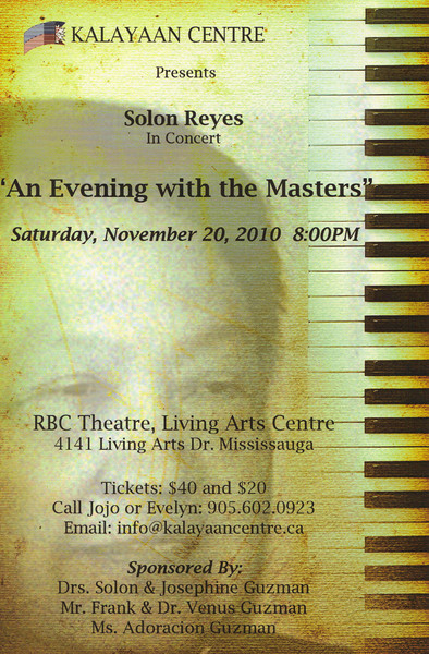 """Solon Reyes in Concert - """"An evening with the Masters"""""""