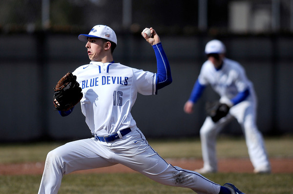 4/5/2018 Mike Orazzi   Staff Plainville High School's Nathan Michalek (16) Thursday afternoon.