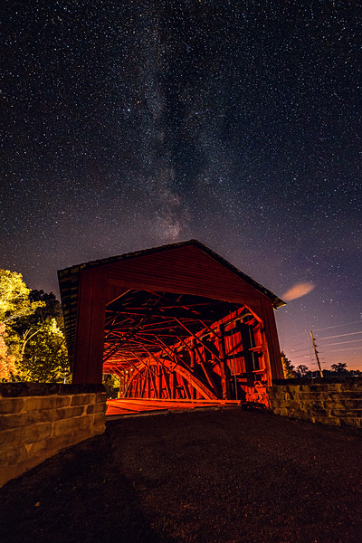 Marys River Covered Bridge under the stars