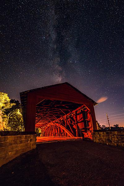 Marys River Covered Bridge under the stars