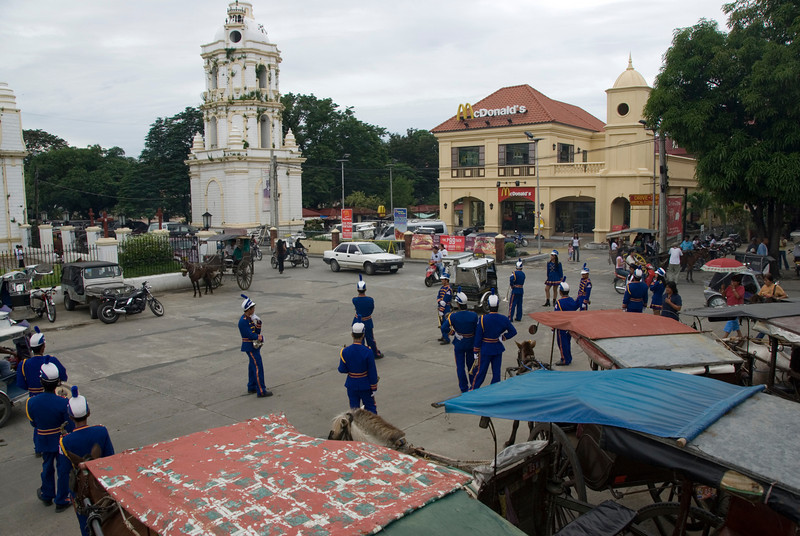 Funeral Marching Band preparing outside the Vigan Cathedral - Vigan, Philippines