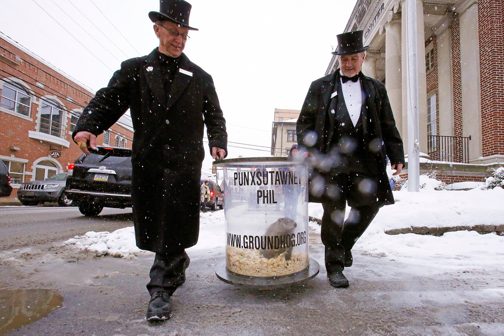 . Groundhog Club co-handlers John Griffiths, right, and Ron Ploucha carry Punxsutawney Phil, the weather prognosticating groundhog, on his rounds through downtown Punxsutawney, Pa., Sunday, Feb. 1, 2015, the eve of the 129th Groundhog Day celebration on Gobbler\'s Knob. (AP Photo/Gene J. Puskar)