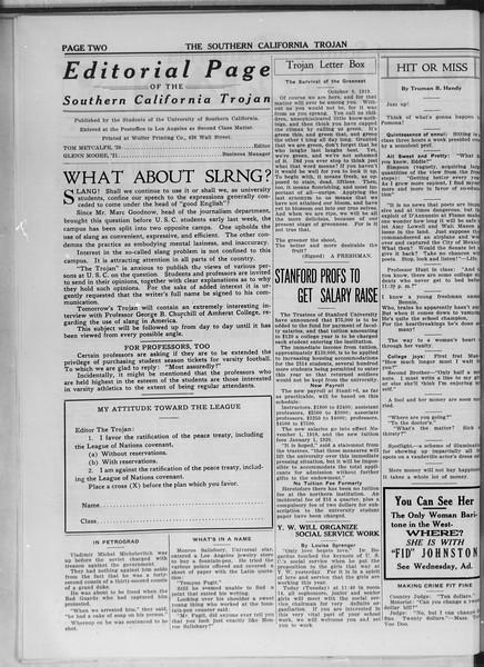 The Southern California Trojan, Vol. 11, No. 6, October 21, 1919