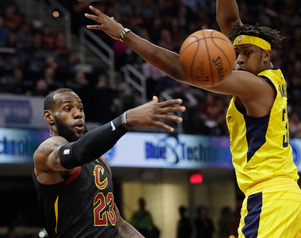 . Cleveland Cavaliers\' LeBron James (23) passes against Indiana Pacers\' Myles Turner (33) in the first half of Game 5 of an NBA basketball first-round playoff series, Wednesday, April 25, 2018, in Cleveland. (AP Photo/Tony Dejak)