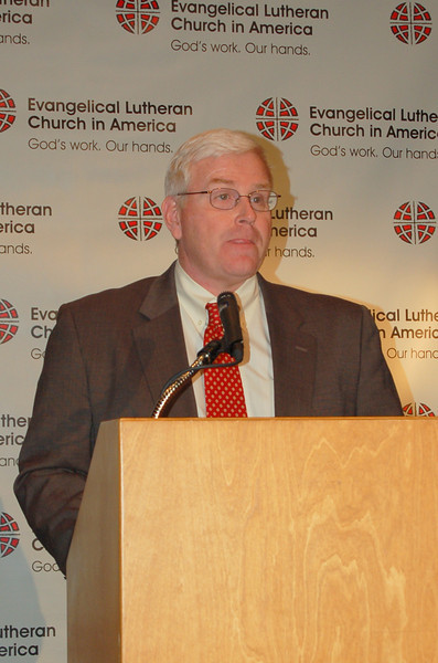 John Brooks, associate executive director and director for ELCA news services, begins the news conference.