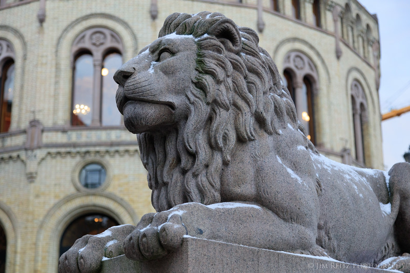 Norway Parliament lion sculpture