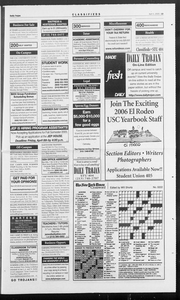 Daily Trojan, Vol. 154, No. 50, April 05, 2005