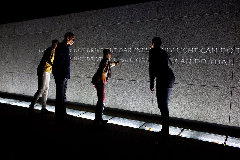 ". Oct. 14, 2011 ""The Obama family made an unannounced visit to tour the Martin Luther King, Jr. National Memorial in Washington, D.C. the night before the President made remarks at the official dedication of the memorial.\"" (Official White House Photo by Pete Souza)"
