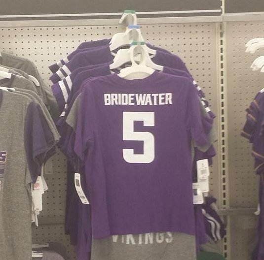 ". 3. (tie) TARGET <p>Looks like Vikings� rookie quarterback isn�t a household name yet. (unranked) </p><p><b><a href=""http://www.myfoxtwincities.com/story/26212391/teddy-bridewater-shirts-pulled-from-target-racks\"" target=\""_blank\""> LINK </a></b> </p><p>   (Twitter photo)</p>"
