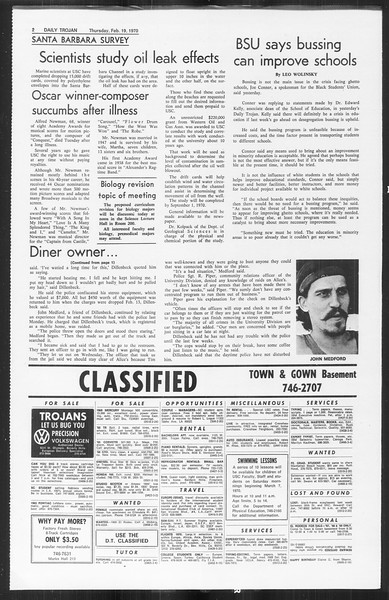 Daily Trojan, Vol. 61, No. 77, February 19, 1970