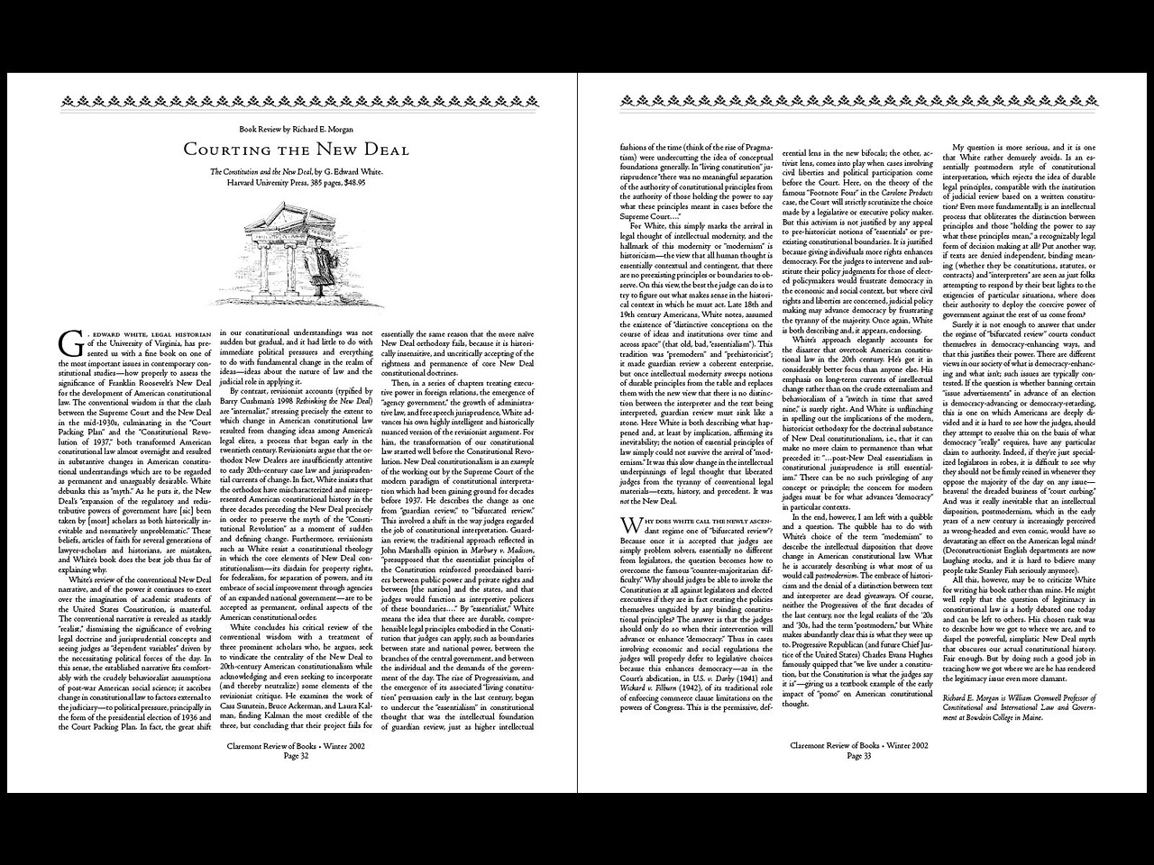 Design of Claremont Review pages: 3. This is the standard layout that we use most frequently.