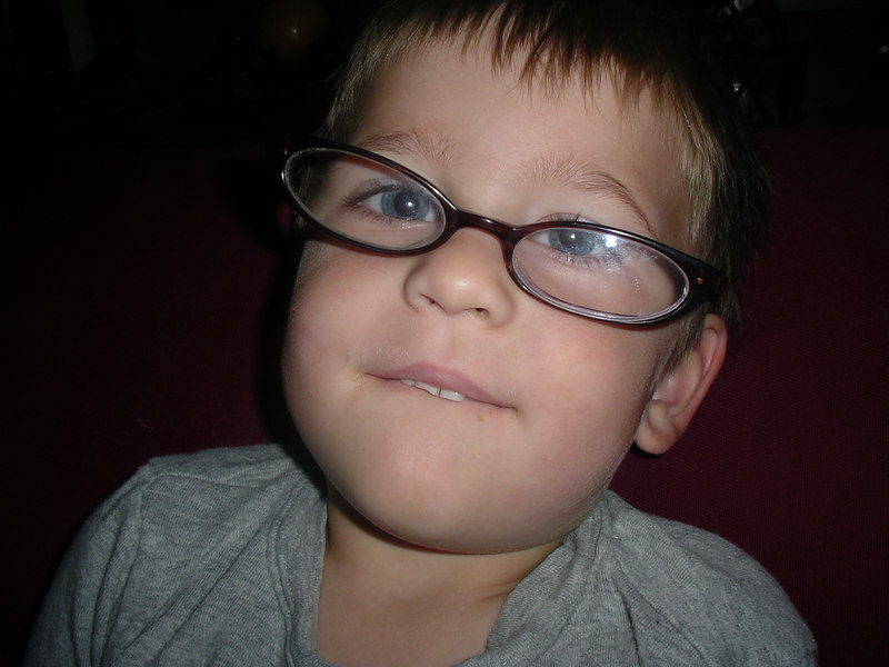 Lucas trying out my glasses.   Oct 2006