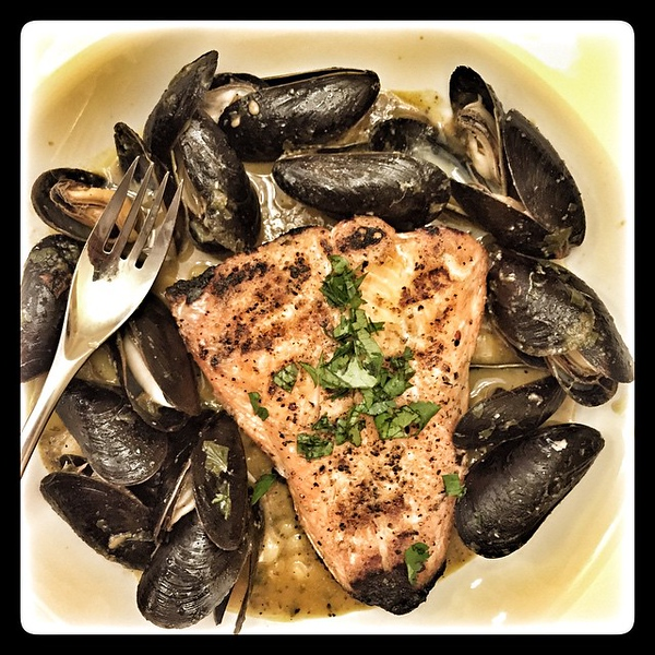 On the table tonite: Arctic char and mussels in green garlic broth