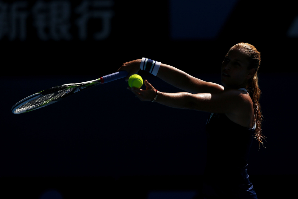 . Dominika Cibulkova of Slovakia serves in her semifinal match against Agnieszka Radwanska of Poland during day 11 of the 2014 Australian Open at Melbourne Park on January 23, 2014 in Melbourne, Australia.  (Photo by Michael Dodge/Getty Images)