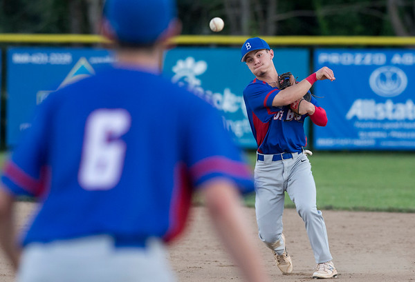 06/27/19 Wesley Bunnell | Staff Berlin Post 68 Legion baseball vs Southington Post 72 on Thursday June 27, 2019. Mike Giove (1) throws to first for the out.