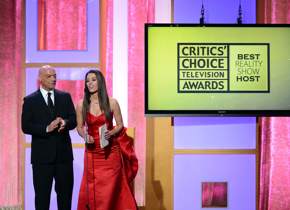 . TV personality Yossi Dina and actress Cory Oliver speak onstage during Broadcast Television Journalists Association\'s third annual Critics\' Choice Television Awards at The Beverly Hilton Hotel on June 10, 2013 in Los Angeles, California.  (Photo by Mark Davis/Getty Images for CCTA)