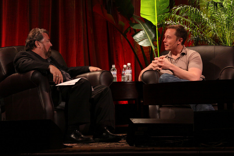 """""""Blast Off! From Launching Private Rockets to the Next Electric Cars"""": Host Mark Anderson (L), FiRe Chair and SNS CEO; with Elon Musk, CEO, SpaceX and Tesla Motors"""