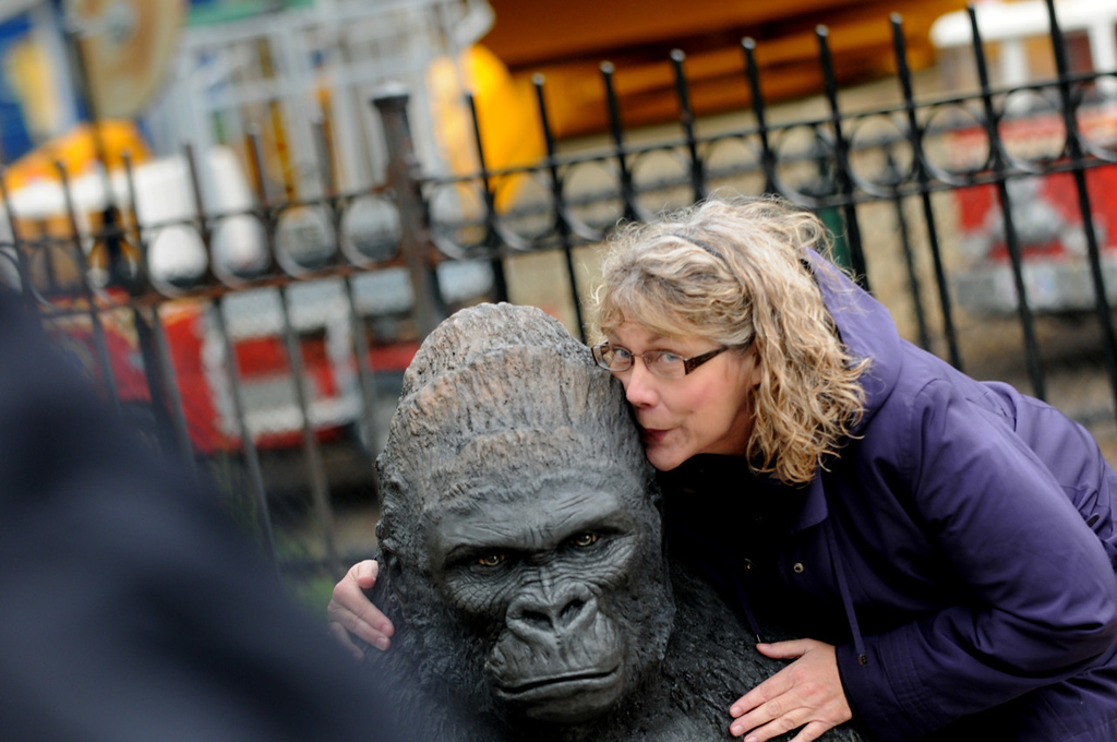 ". ""I love monkeys!\"" said Susan Peterson of Brooklyn Park, who hugs a statue outside the new Gorilla Forest at Como Park Zoo and Conservatory.  (Pioneer Press: Jean Pieri)"