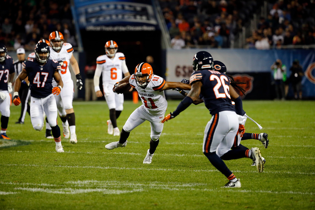 . Cleveland Browns wide receiver Jordan Leslie (11) runs after a pass reception during the first half of an NFL preseason football game against the Chicago Bears, Thursday, Aug. 31, 2017, in Chicago. (AP Photo/Charles Rex Arbogast)