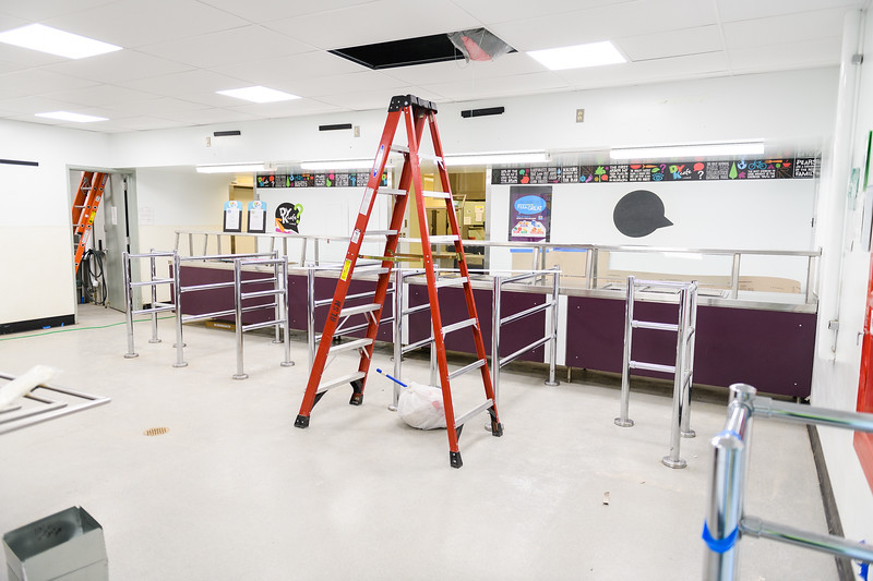 New service counters and metal railings in the cafeteria serving room at Judson Middle School on Friday, August 16, 2019, in Salem, Ore.
