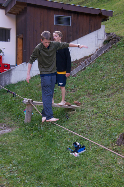Ben and Harry trying their luck with the slackline