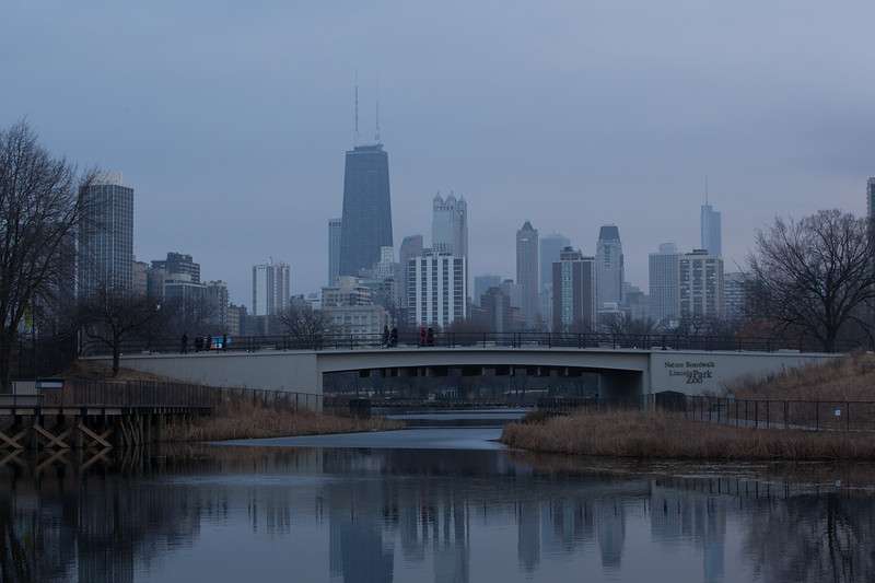 The South Pond Nature Preserve with the magnificent skyline as a winter evening approaches.