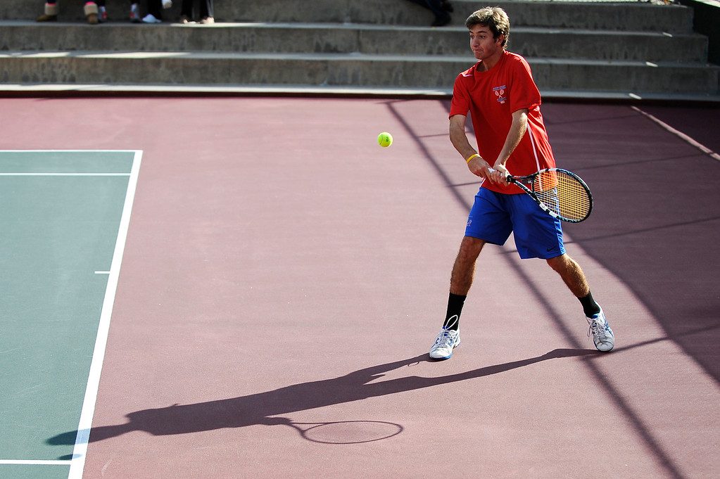 . DENVER, CO. - OCT 12:   Zach Fryer of Cherry Creek hits back during his #1 singles match against Fairview\'s Ignatius Castelino. Fryer would go on to win the match and become the boys\' state tennis 5A singles champion.  (Photo By Erin Hull/The Denver Post)