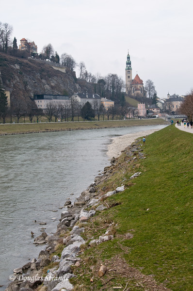 Bank of the Salzach River in Salzburg