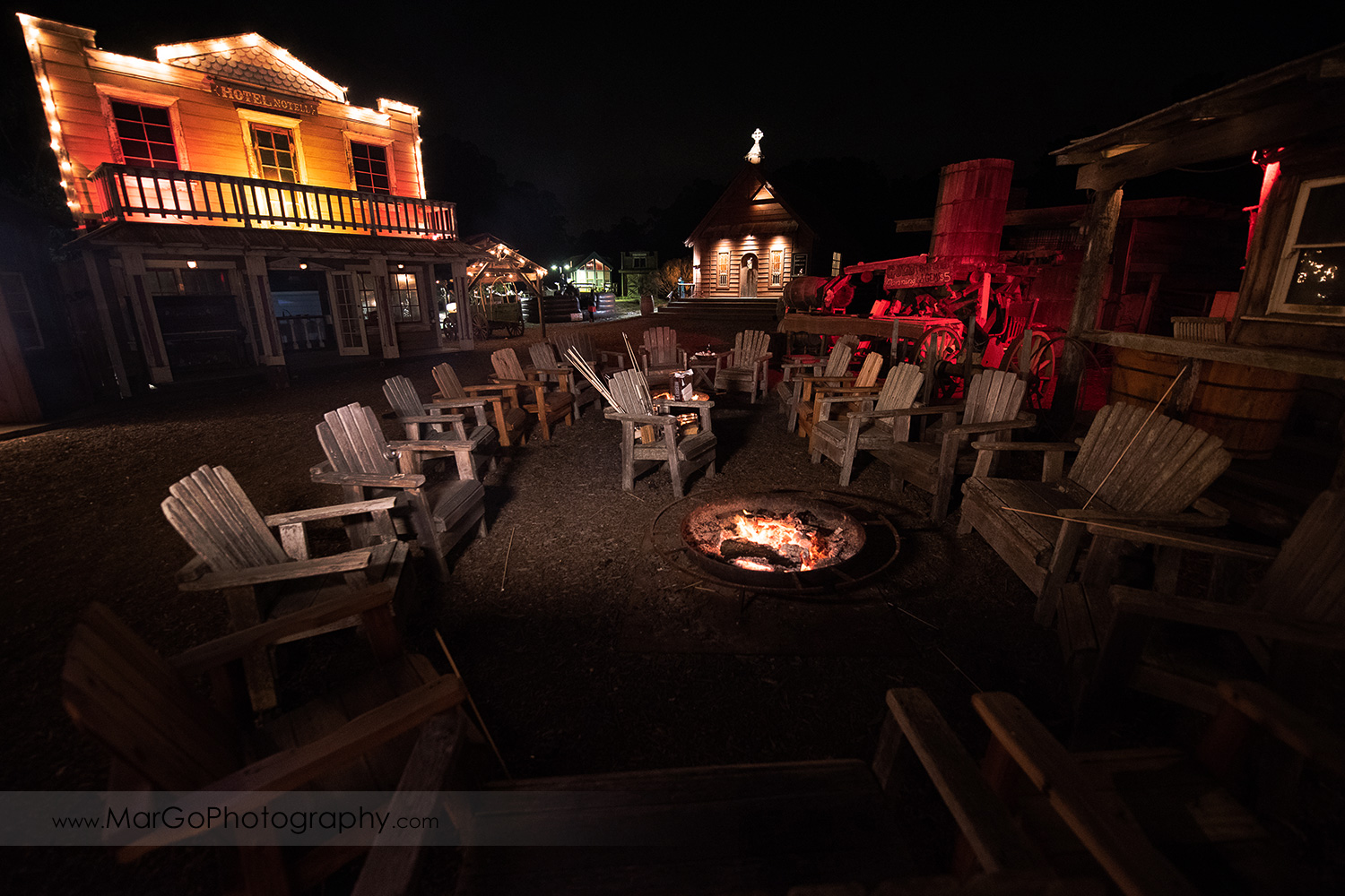 camp fire in the middle of old town at Long Branch Saloon & Farms in Half Moon Bay