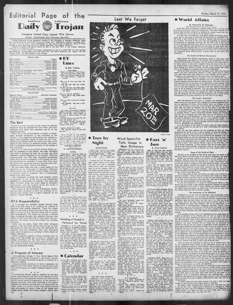 Daily Trojan, Vol. 27, No. 99, March 16, 1936