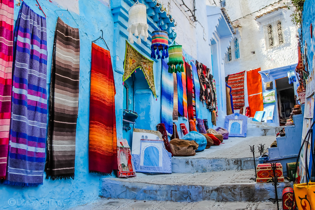 Blue streets in Chefchaouen, Morocco