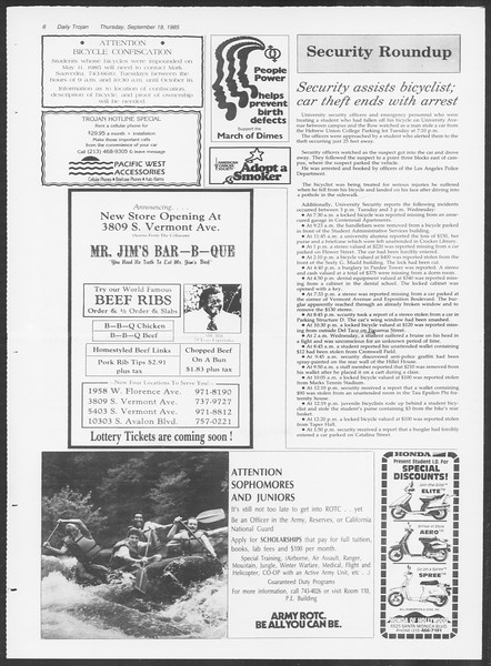 Daily Trojan, Vol. 100, No. 13, September 19, 1985