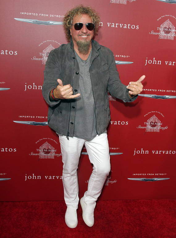 ". Sammy Hagar arrives at the 13th annual Stuart House benefit at John Varvatos Boutique on Sunday, April 17, 2016, in West Hollywood, Calif. Sammy Hagar &amp; The Circle will be at the Hard Rock Rocksino at Northfield Park on June 24. For more information, visit <a href=""https://www.hrrocksinonorthfieldpark.com/\"">hrrocksinonorthfieldpark.com</a>. (Photo by Juan Rico/Invision/AP)"