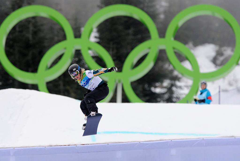 . Stephanie Hickey of Australia during the ladies snowboardcross qualifications  at the Vancouver 2010 Olympics in Vancouver, British Columbia, Tuesday, Feb. 16, 2010. (AP Photo/Mark J. Terrill)