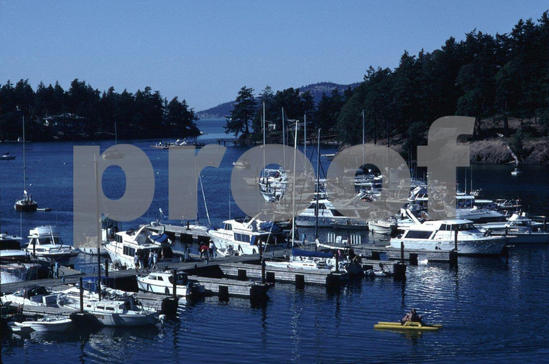 Boats in the Roche Harbor on San Juan Island.
