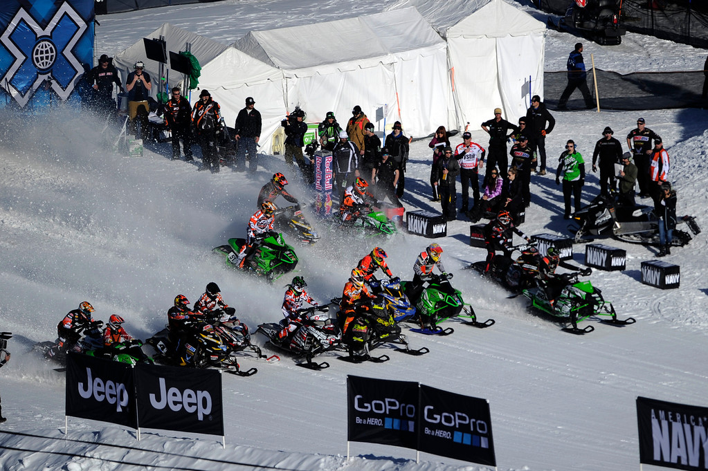 . ASPEN, CO - January 27: Competitors in the snowmobile SnoCross event start the final at Winter X Games Aspen 2013 at Buttermilk Mountain on Jan. 27, 2013, in Aspen, Colorado. (Photo by Daniel Petty/The Denver Post)