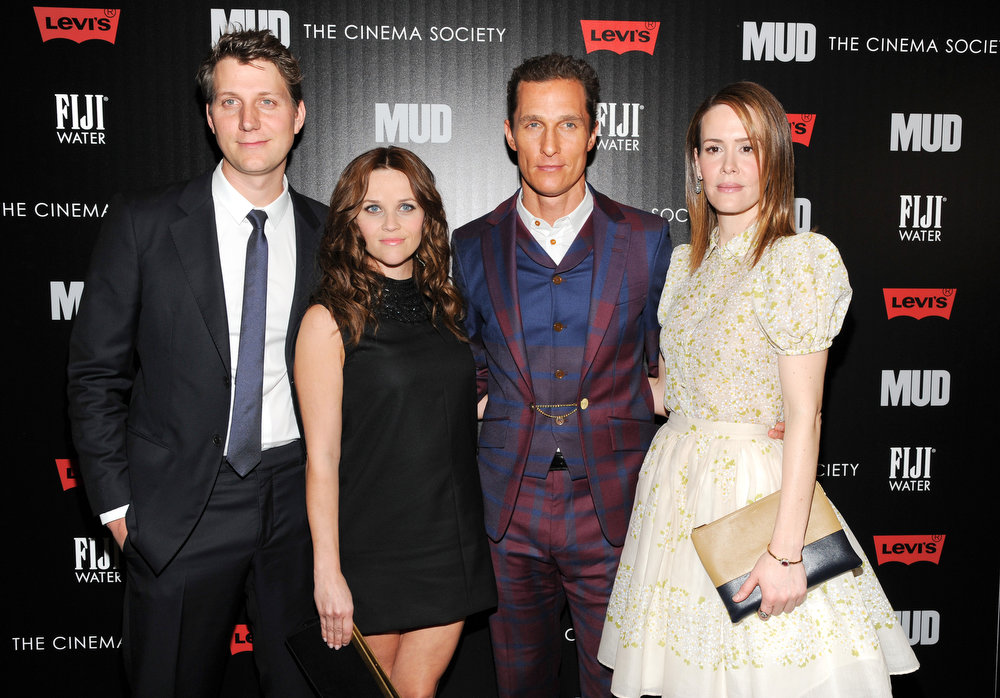 """. Writer - director Jeff Nichols, left, poses with actors Reese Witherspoon, Matthew McConaughey and Sarah Paulson, right, at the premiere of \""""Mud\"""" hosted by The Cinema Society with FIJI Water & Levi\'s at the Museum of Modern Art on Monday April 21, 2013 in New York. (Photo by Evan Agostini/InvisionAP)"""