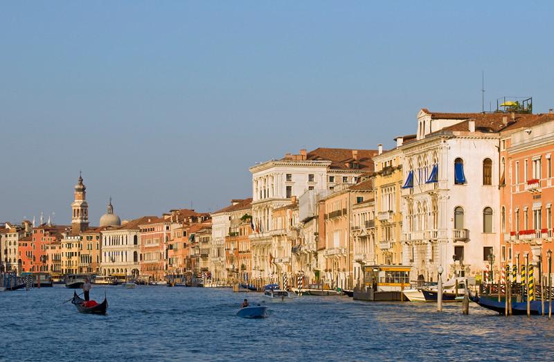 Canal Grande Palaces between Rialto Bridge and the Academy, Venice, Veneto, Italy